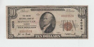 National Currency Manhattan Kansas  $10 1929-I vg-fine stains rounded corner