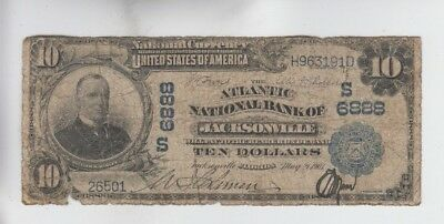 National Currency Jacksonvile Florida $10 1902PB low grade