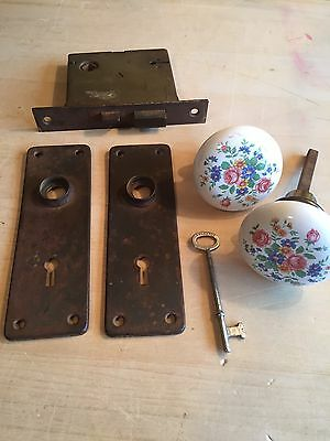 Antique Russell & Erwin Door Hardware Lock Set 2 Porcelain Knobs Key Plates