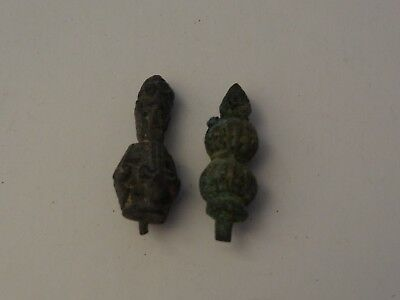 ANTIQUE TIBETAN BUDDHIST CAST BRASS  HEAD ORNAMENT 2 pc