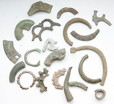 Group Of Ancient Old Ornament Bronze Fibula Brooch Fragments (JUL)
