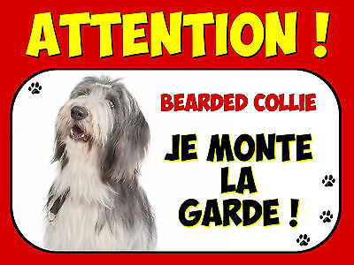 Plaque en aluminium Attention au chien Bearded collie