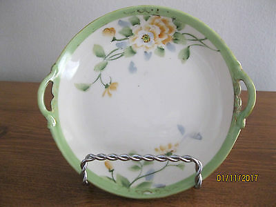 """Vintage Nippon Hand Painted Porcelain 5"""" Bread & Butter Plate, Double Handled"""