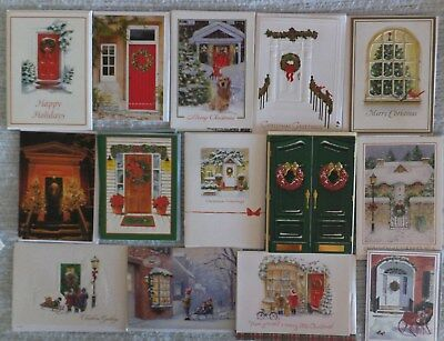Lot of 45 Christmas Holiday Cards, Front Door, Window Porch scenes