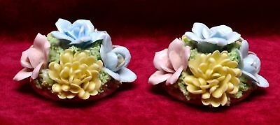 Pr Napco By Giftcraft Originals Bone China Floral Candle Holders / Bouquets