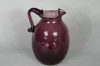 Glass Crackle Pitcher Amethyst Applied Handle & Blown Glass