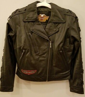 Harley Davidson An American Legend Black Leather Jacket - Womens Small