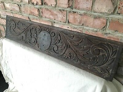 Antique Wood Carving Victorian Oak Arts & Craft Fireplace Architectural Wall Art