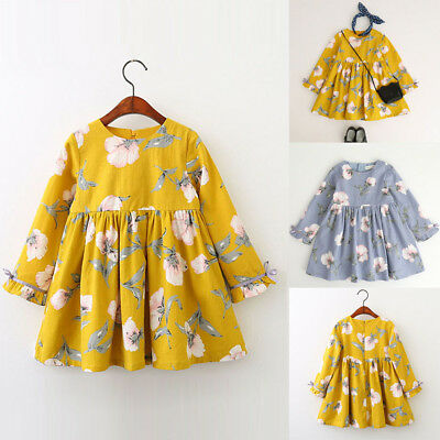 Kids Toddler Baby Girl Long Sleeve Floral Bowknot Party Princess Tutu Dress Sale