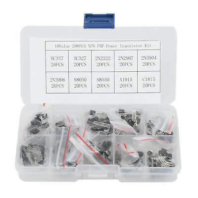 200pcs 10Types NPN PNP Power Transistor Kit Set BC337 BC547 2N2222 S8050 w/ Box