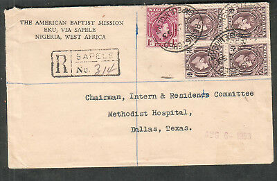 Nigeria 1953 Registered cover American Baptist Mission Sapele Lagos to Dallas TX