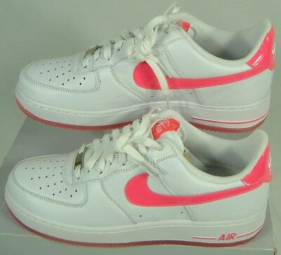 New Womens 11 NIKE Air Force 1 White Hot Pink Leather Shoes $82 315115-127
