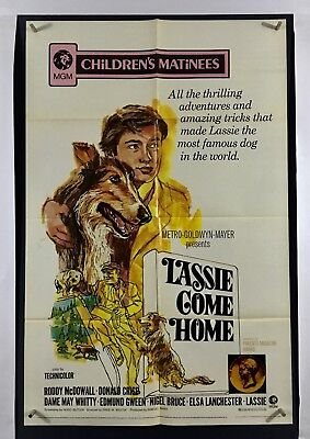 LASSIE COME HOME Movie Poster (VeryGood ) One Sheet 1971 ReRelease Folded 2879
