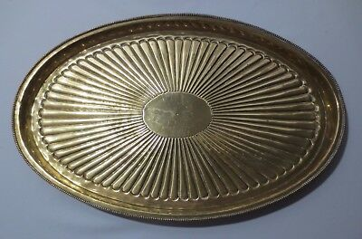 Vintage Mid Century Modern Brass Plated Metal  Oval Tray C Jere style design