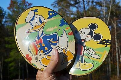 VINTAGE 40's DISNEY MICKEY MOUSE DONALD DUCK GLASS WALL SIGNS RARE & COLLECTABLE