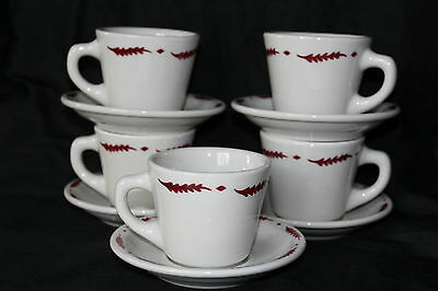 Restaurant Ware Cup & Saucer Sterling China Airbrushed Red Leaf Pattern 10pcs