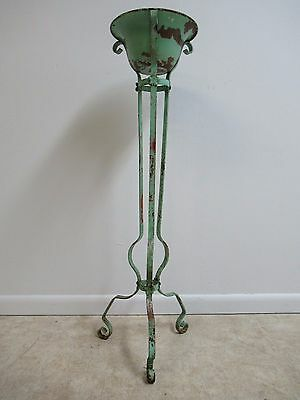 Antique Wrought Iron French Regency Plant Stand Pedestal Bowl