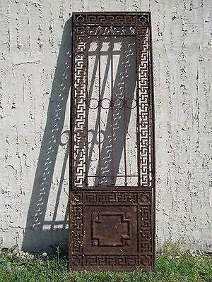 Antique Iron Garden Gate Greek Key Door Architectural Salvage Door 27x1x83 #08