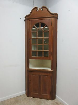 Antique Primitive Early American Corner Cupboard China Hutch Display