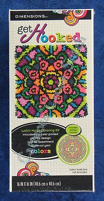"Latch Hook Kit Colourful Mandala 16"" x 16"" Dimensions Printed Canvas"