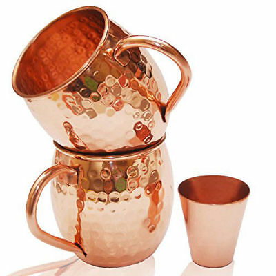 Moscow Mule Hammered Copper Mugs 100% Pure Set Of 2 16 oz + Shot Glass Gift Box