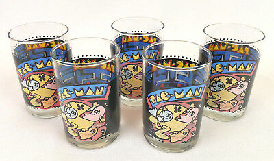 """Lot 5 Arby's PacMan 12 ounce Collector Drinking Glasses Tumblers 4.625"""" Vintage"""