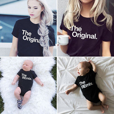 Family Matching Outfits Letter Printed T-shirt Clothes Men Women Kids Baby Tops