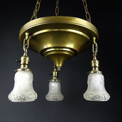 Antique Art Nouveau Brass 3 Paiste Pendant Light Chandelier with Globe Shades