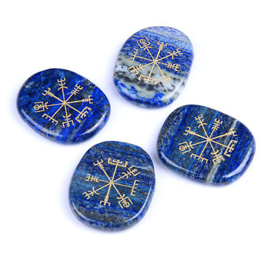 4pcs Natural Stone Lapis Lazuli Engraved Ancient Norse Vegvisir Compass Symbol