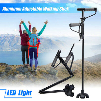 Adjustable Floding Walking Stick Cane With LED Light Strap Handle Metal Portable