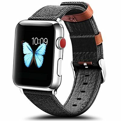 Watch Band For Apple Series 1/2/3 Stylish Replacement Strap-42mm Fiber/Dark Grey