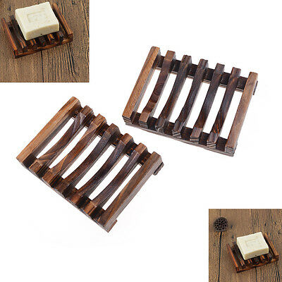 Modern Antique Charcoal Wooden Bathroom Soap Dish Bath Soap Saver Tray G*