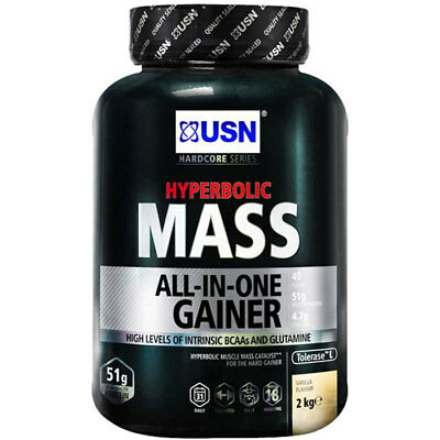 USN Hyperbolic Mass 2kg All In One Weight Gainer Protein Powder Shake Chocolate