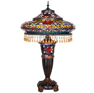 Coffee Table Lamp Dining Kitchen Women Entryway Stained Glass Tiffany Vintage