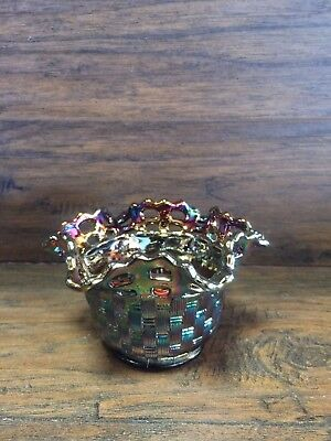 19954 ~ VINTAGE FENTON CARNIVAL GLASS BOWL / BASKET Ruffled Edge