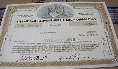 I T & T Corp. OLD CANCELED STOCK  CERTIFICATE  1973 brown