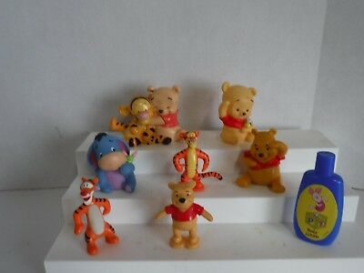 DISNEY BABY WINNIE THE POOH EEYORE TIGGER 8 TOY Cake Toppers PVC FIGURES #A