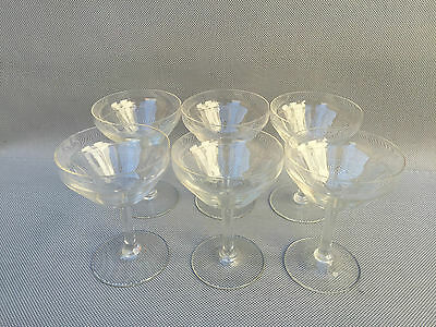 Lot de 6 ancien verres a pied art de la table coupe a champagne french antique
