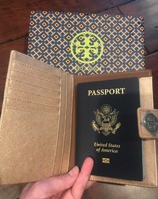 ~RARE Tory Burch Bronze Gold Robinson York Saffiano Leather Passport Case Wallet