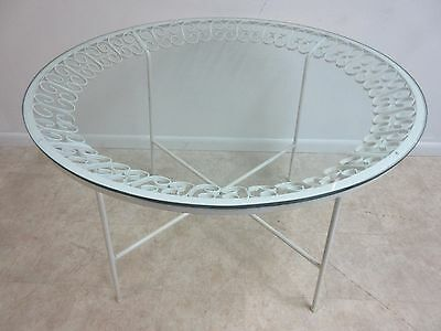 Vintage Mid Century Outdoor Wrought Iron Round Patio Dining Dinette Table