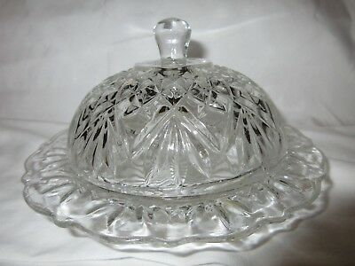 Vtg Clear Cut Glass Butter Dish With Round Dome - 4""