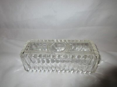 Vintage Cut Glass Rolled Design Butter Dish with Lid  7.5""