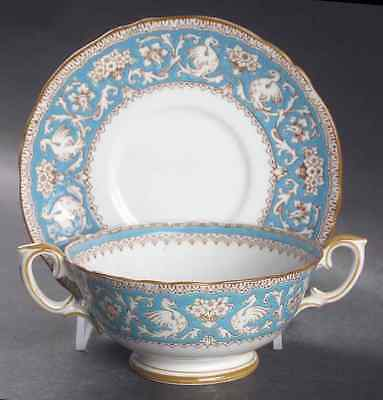 Crown Staffordshire ELLESMERE TURQUOISE Cream Soup & Saucer 2338407