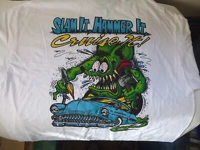 "New Ed Roth ""Rat Fink"" Slam It Hammer It Cruise it! T Shirt White Tee Large Size"