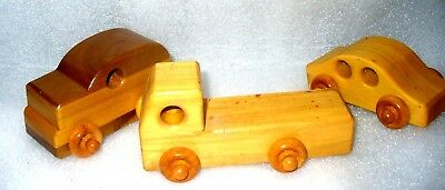 Vintage Hand Made Solid Wood Toys ....lot of three....Pre owned