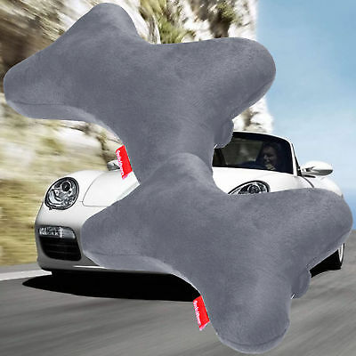2 pcs Dog Bone Car Neck Pillow Head Rest Memory Foam Travel Trip Posture Support