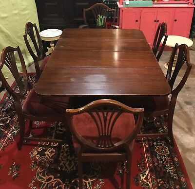 Phenomenal Vintage Duncan Phyfe Style Drop Leaf Dining Table Double Pedestal Home Interior And Landscaping Ologienasavecom