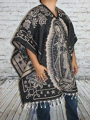 Virgin Virgen Guadalupe Mexican Poncho Gaban Blanket Cape Ruana Tribal