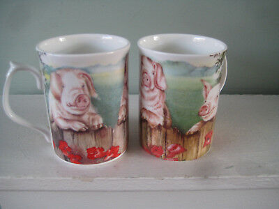 2 x FENTON Bone China Mugs each with 3 Adorable PIGS Designed by ANN BLOCKLEY
