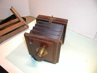 "Early 1900's "" Scovill Manufacturing Co. "" Folding Wood Camera with Dry Plates"